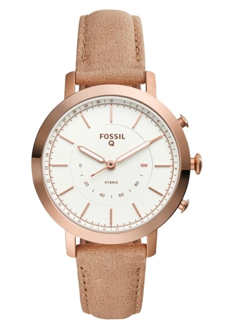 Fossil Women's Tech Neely Nude Leather Strap Hybrid Smart Watch 36mm
