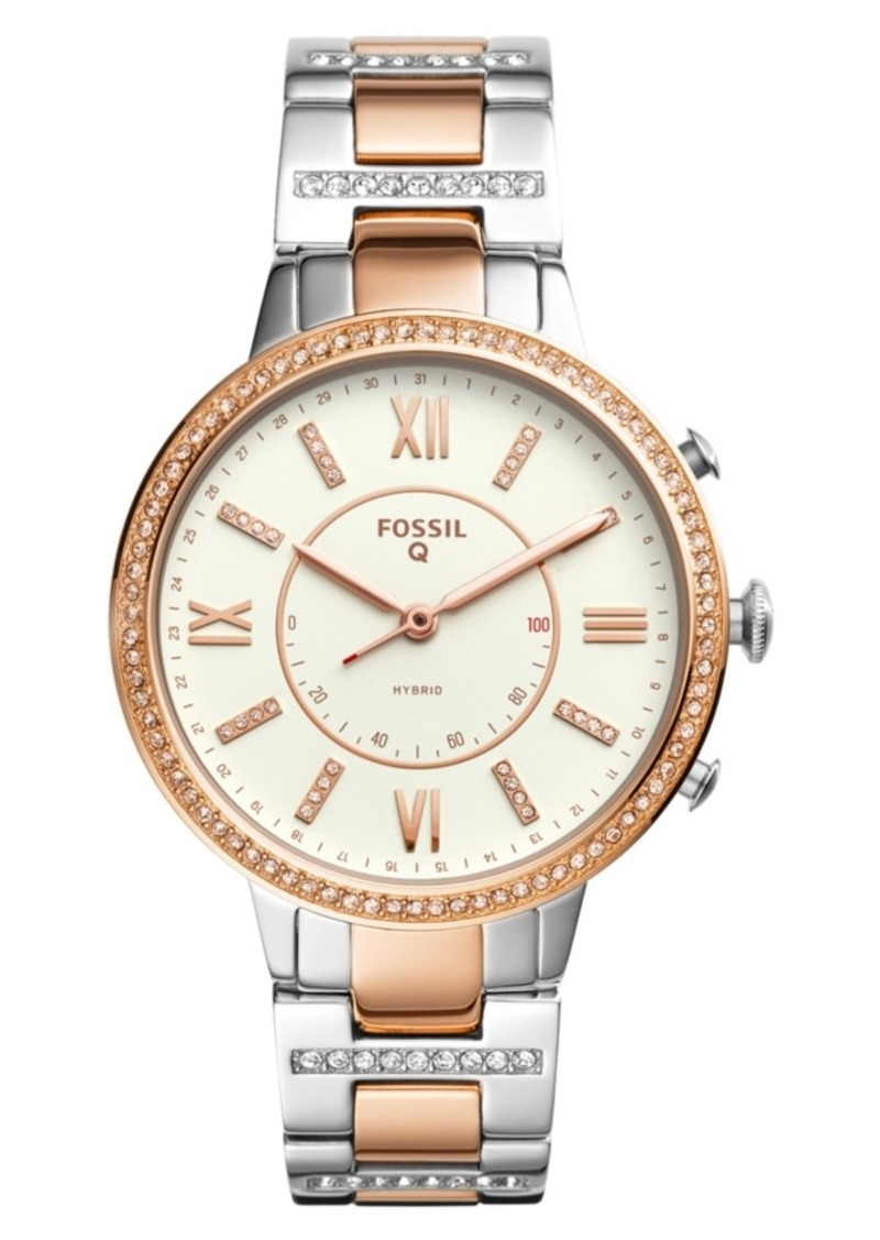 Fossil Women's Tech Virginia Two-Tone Stainless Steel Bracelet Hybrid Smart Watch 36mm