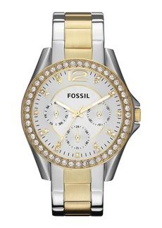Fossil 'Riley' Round Crystal Bezel Bracelet Watch, 38mm