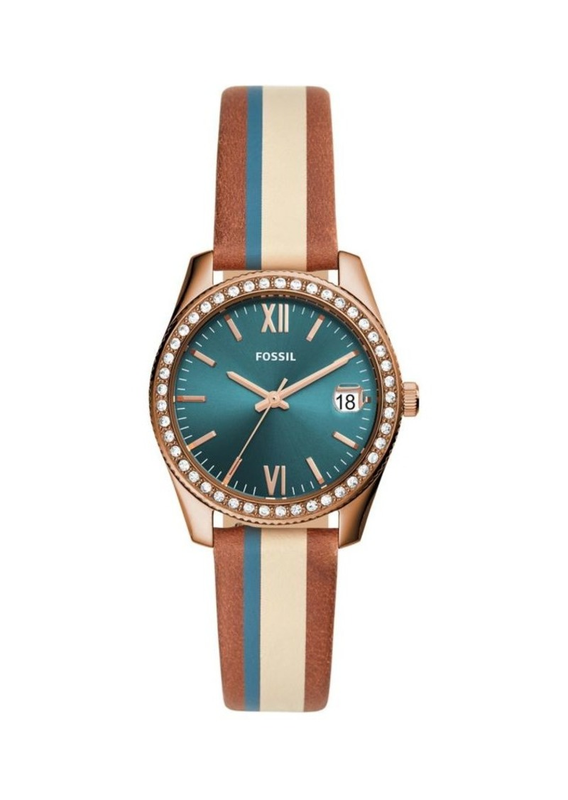 Fossil Scarlette Stainless Steel & Leather Strap Watch