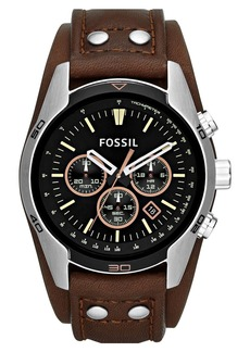 Fossil 'Sport' Chronograph Leather Cuff Watch, 44mm