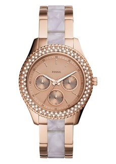 Fossil Stella Pavé Bezel Acetate Bracelet Watch, 38mm