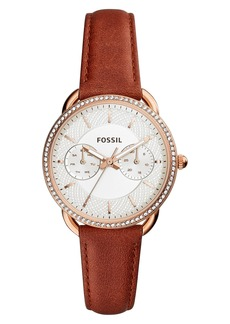 Fossil Tailor Crystal Bezel Leather Strap Watch, 35mm