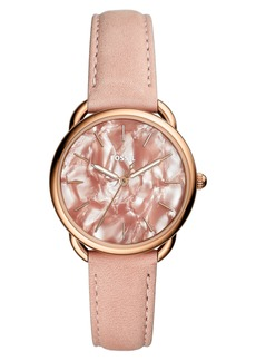 Fossil Tailor Leather Strap Watch, 35mm