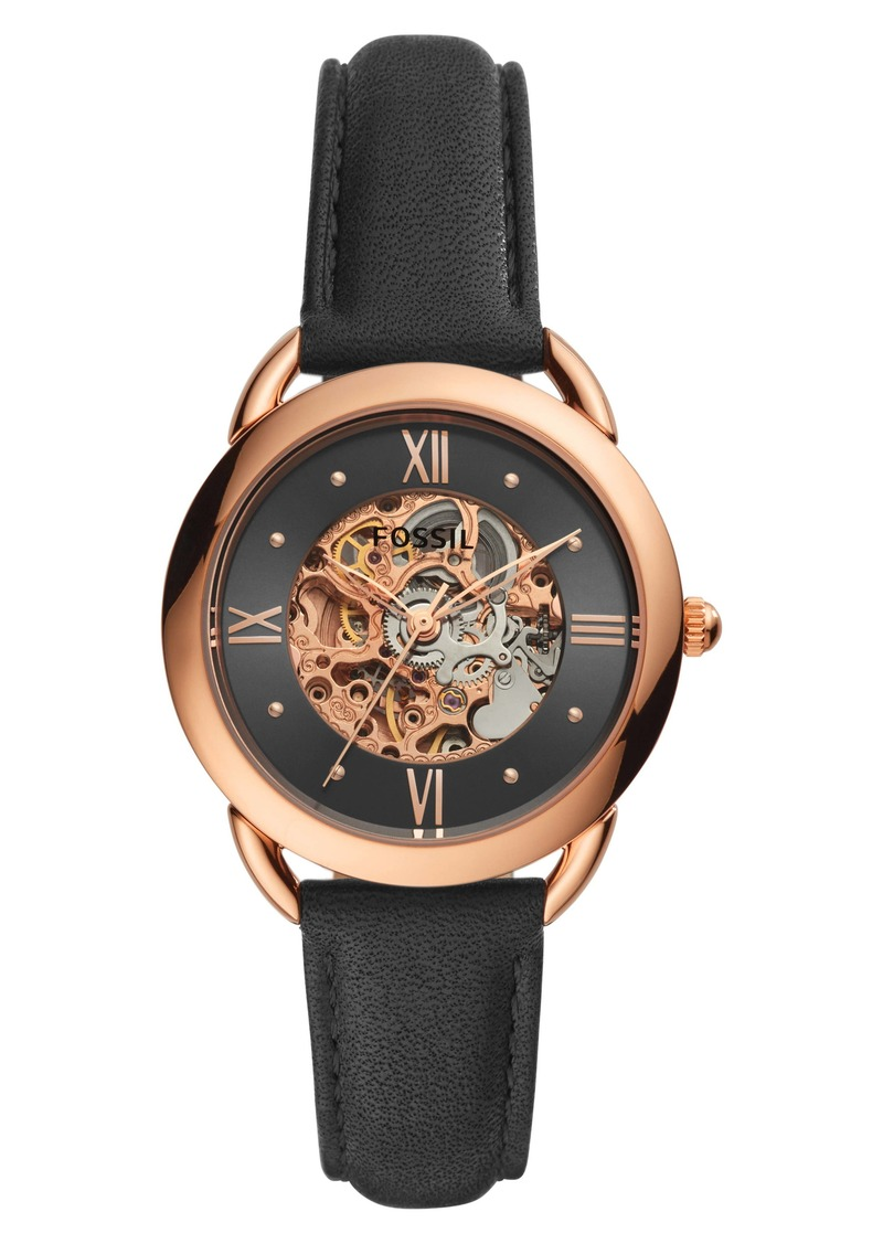 Fossil Tailor Skeleton Automatic Leather Strap Watch, 35mm