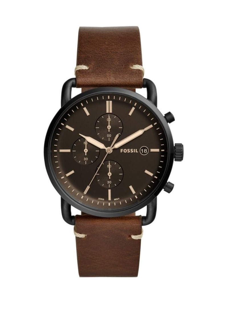 Fossil The Commuter Chronograph Stainless Steel & Leather-Strap Watch