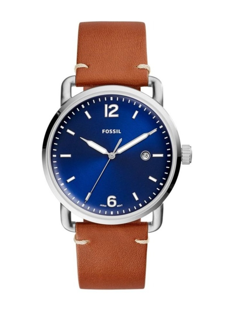 Fossil The Commuter Three-Hand Date Luggage Leather-Strap Watch