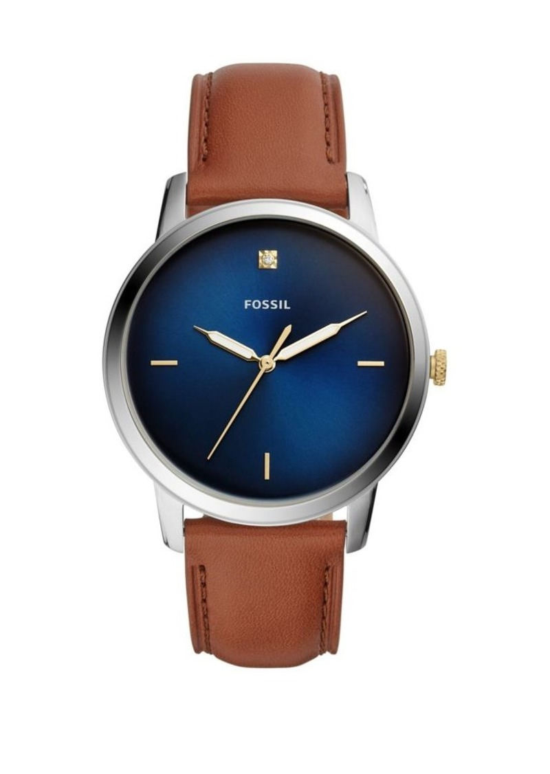 Fossil The Minimalist 3H Carbon Series Stainless Steel & Leather-Strap Watch