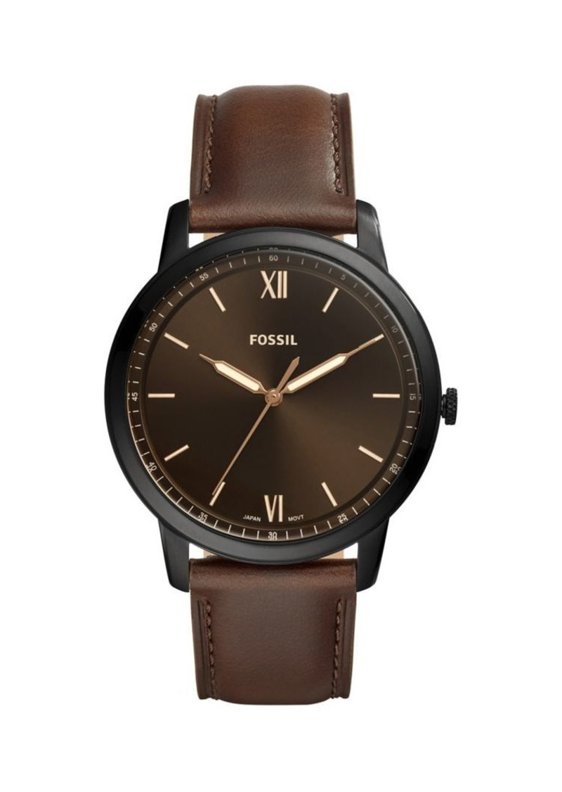 Fossil The Minimalist 3H Stainless Steel & Brown Leather Strap Watch