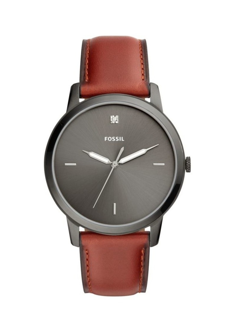 Fossil The Minimalist Carbon Series Diamond Accent, Stainless Steel & Brown Leather Strap Watch