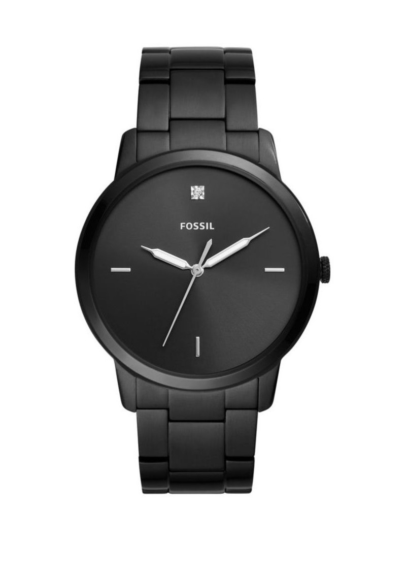 Fossil The Minimalist Carbon Series Three-Hand Black Stainless Steel Watch