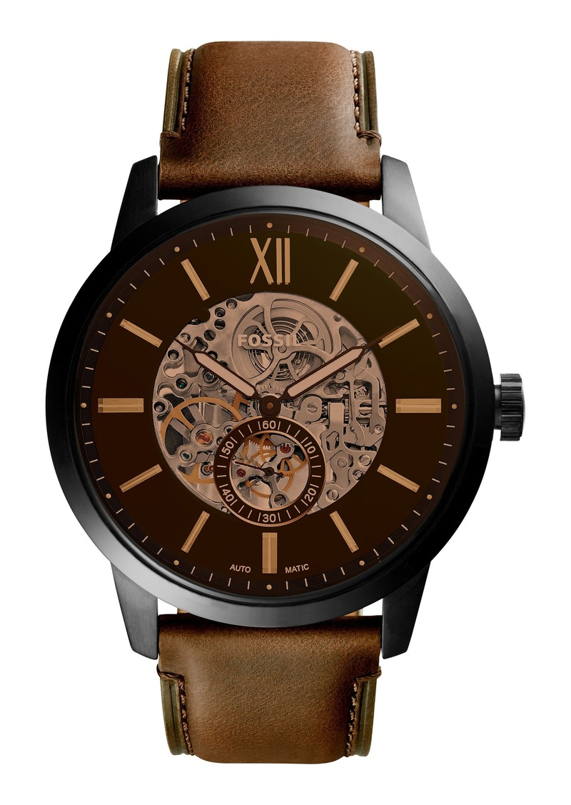 Fossil Townsman Automatic Leather Strap Watch, 48mm