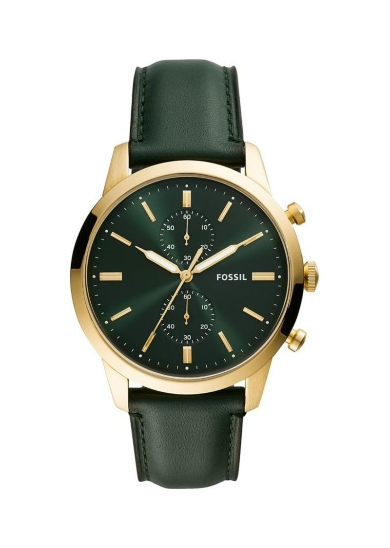 Fossil Townsman Goldtone Stainless Steel & Leather-Strap Chronograph Watch