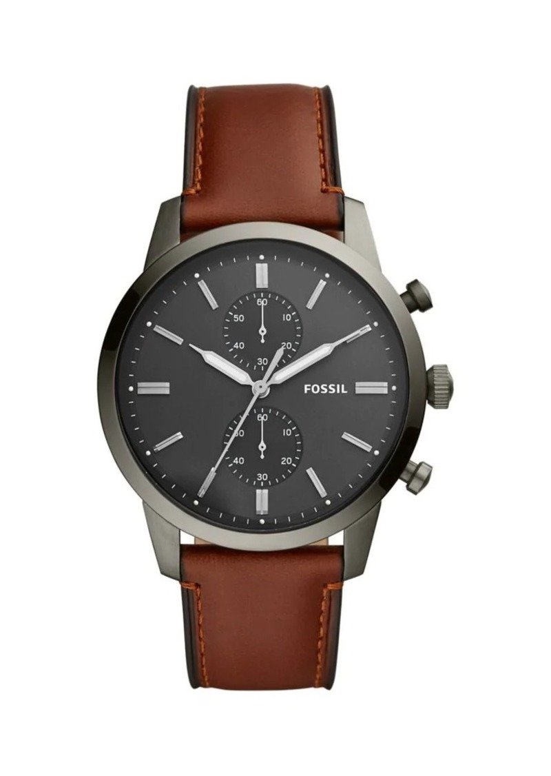 Fossil Townsman Stainless Steel & Brown Leather Strap Chronograph Watch