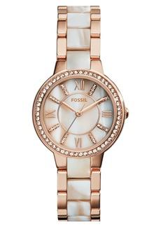 Fossil 'Virginia' Resin Link Crystal Bezel Bracelet Watch, 30mm