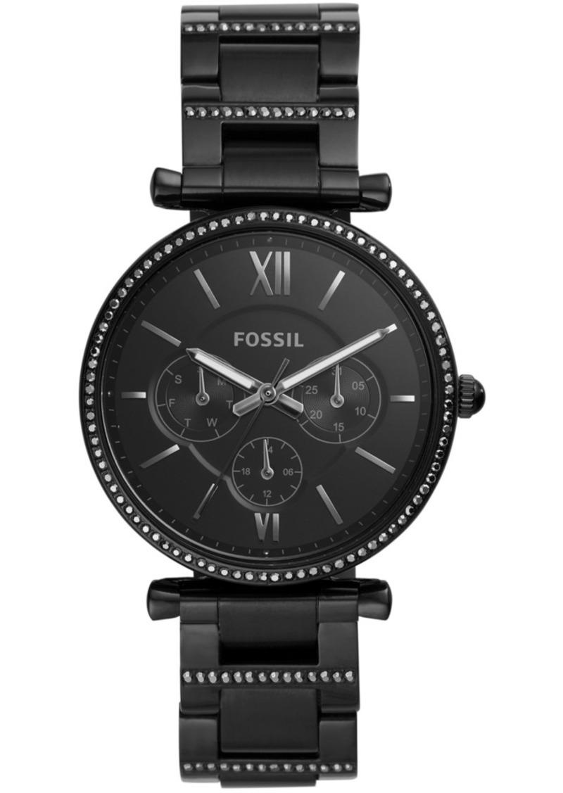 Fossil Women's Carlie Black Stainless Steel Bracelet Watch 38mm