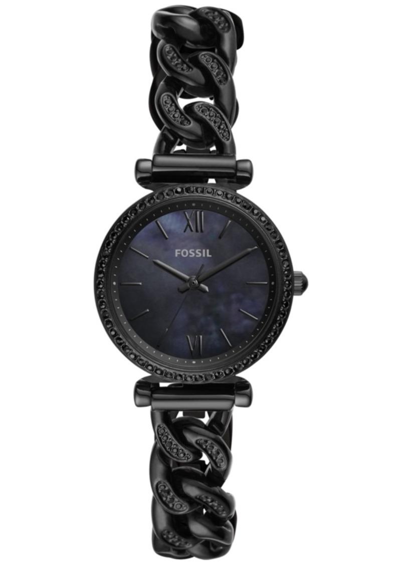 Fossil Women's Carlie Mini Black Stainless Steel Chain Bracelet Watch 28mm