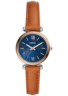 Fossil Women's Carlie Mini Brown Leather Strap Watch 28mm