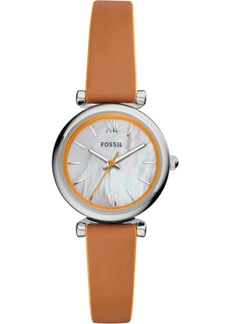 Fossil Women's Carlie Mini Orange & Luggage Leather Strap Watch 28mm