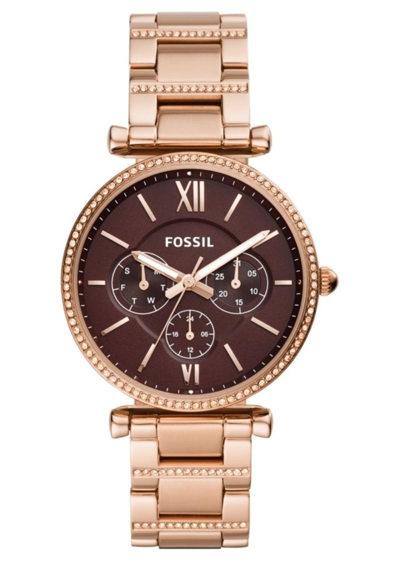 Fossil Women's Carlie Rose Gold-Tone Stainless Steel Bracelet Watch 38mm