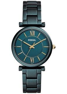 Fossil Women's Carlie Teal Stainless Steel Bracelet Watch 35mm