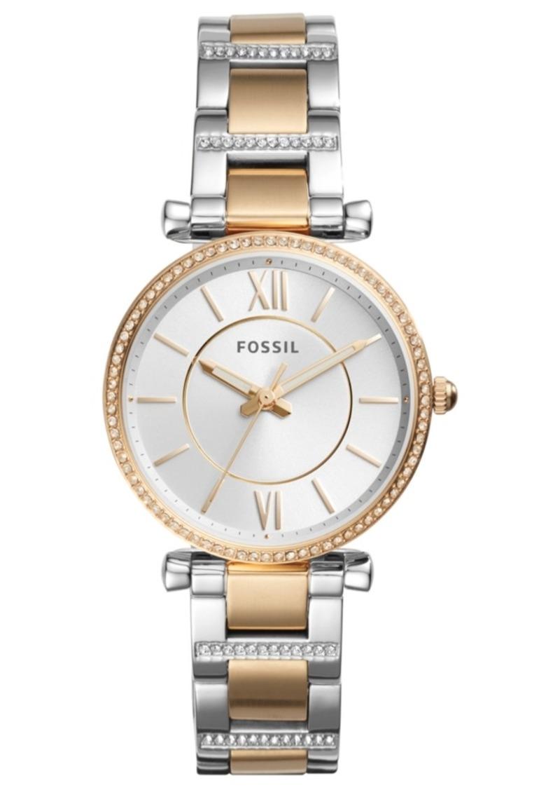 Fossil Women's Carlie Two-Tone Stainless Steel Bracelet Watch 35mm