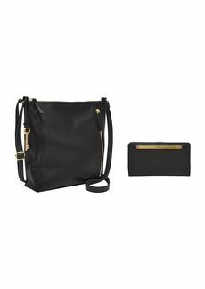 Fossil Women's Crossbody Black 9.38 L x 2.63 W 9.5 H US with Women's Liza Leather Slim Bifold Wallet Black