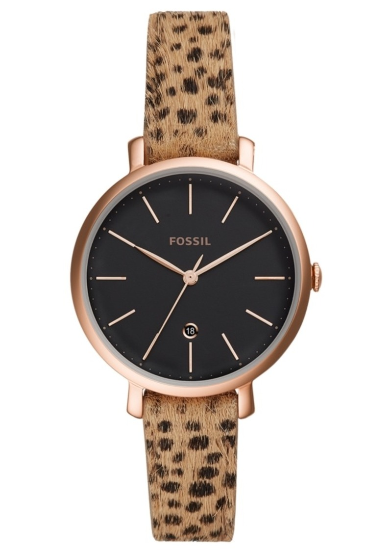 Fossil Women's Jacqueline Animal Print Hair Leather Strap Watch 36mm