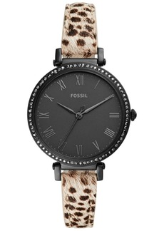 Fossil Women's Jacqueline Animal Print Leather Strap Watch 36mm