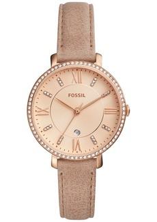 Fossil Women's Jacqueline Beige Leather Strap Watch 36mm