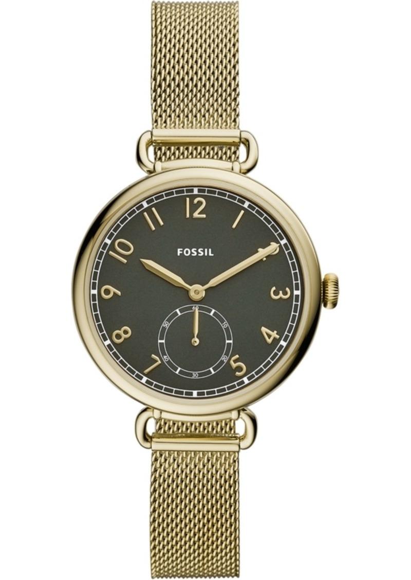 Fossil Women's Josey Gold-Tone Stainless Steel Mesh Bracelet Watch 34mm