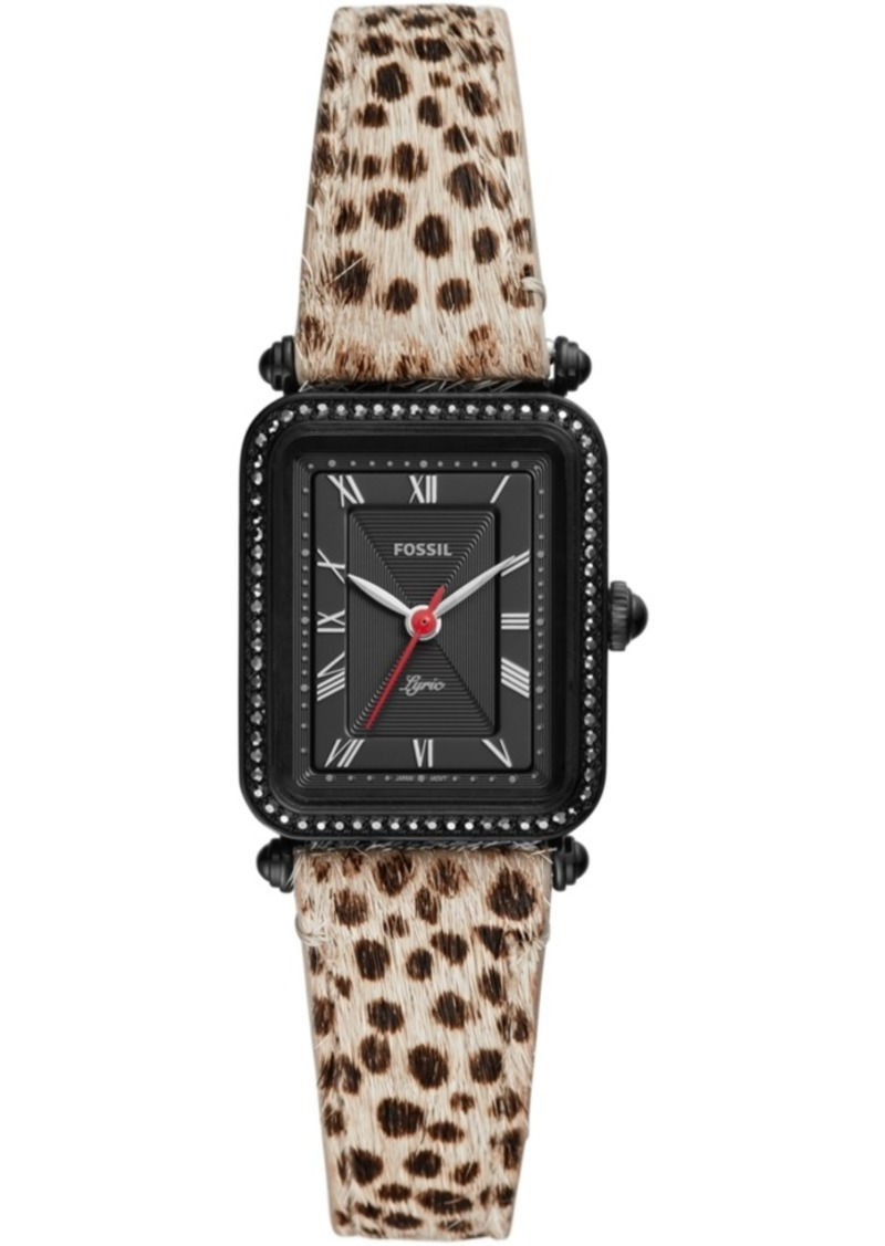 Fossil Women's Lyric Animal Print Leather Strap Watch 28mm