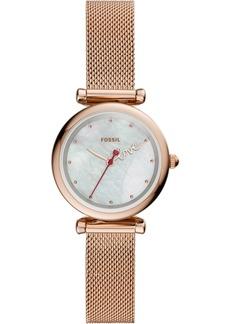 Fossil Women's Mini Carlie Rose Gold-Tone Stainless Steel Mesh Bracelet Watch 28mm