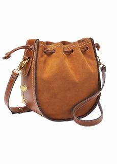 Fossil Women's Palmer Leather Drawstring Crossbody Handbag Caramel Nubuck