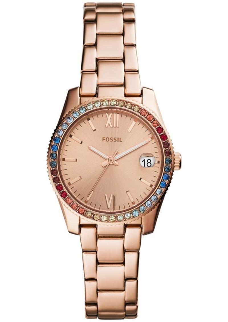 Fossil Women's Scarlette Rose Gold-Tone Stainless Steel Bracelet Watch 32mm