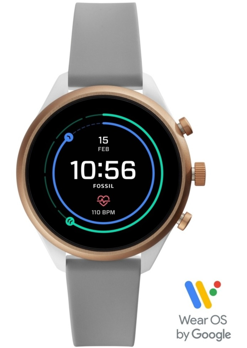 Fossil Women's Sport Hr Gray Silicone Strap Smart Watch 41mm, Powered by Wear Os by Google