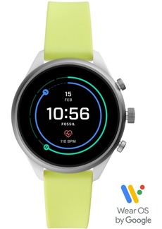 Fossil Women's Sport Hr Neon Silicone Strap Smart Watch 41mm, Powered by Wear Os by Google