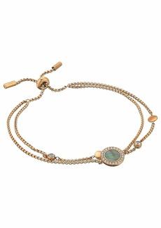 Fossil Grey Mother-of-Pearl and Rose Gold Multi-Strand Slider Closure Bracelet