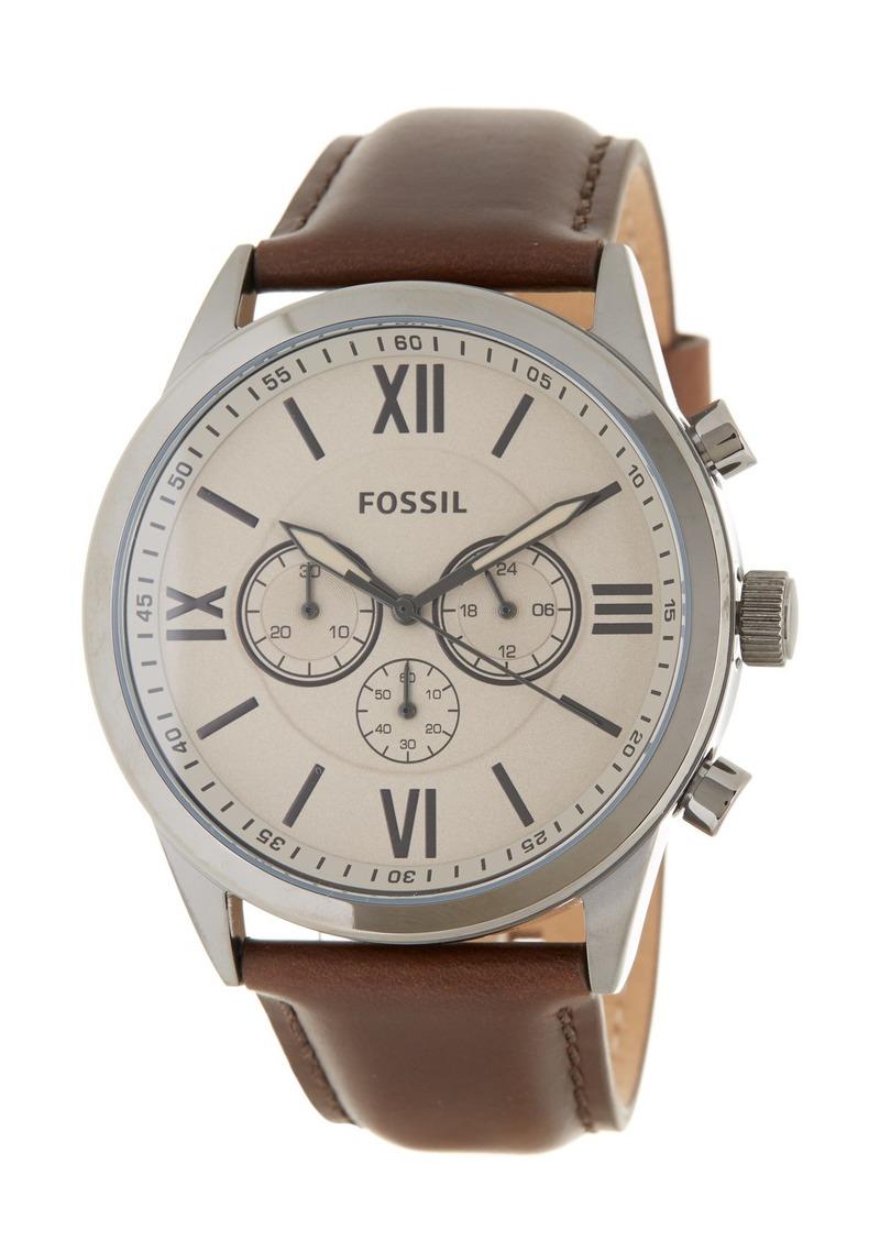 Fossil Men's Flynn Leather Strap Watch, 48mm