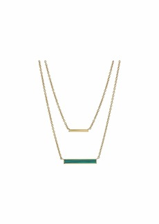 Fossil Modern Meadows Malachite Bar Necklace