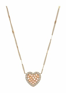 Fossil Pave Pink Marble Chain Necklace