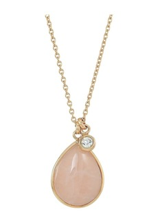 Fossil Vintage Iconic Quartz Teardrop Necklace with Clear Crystal