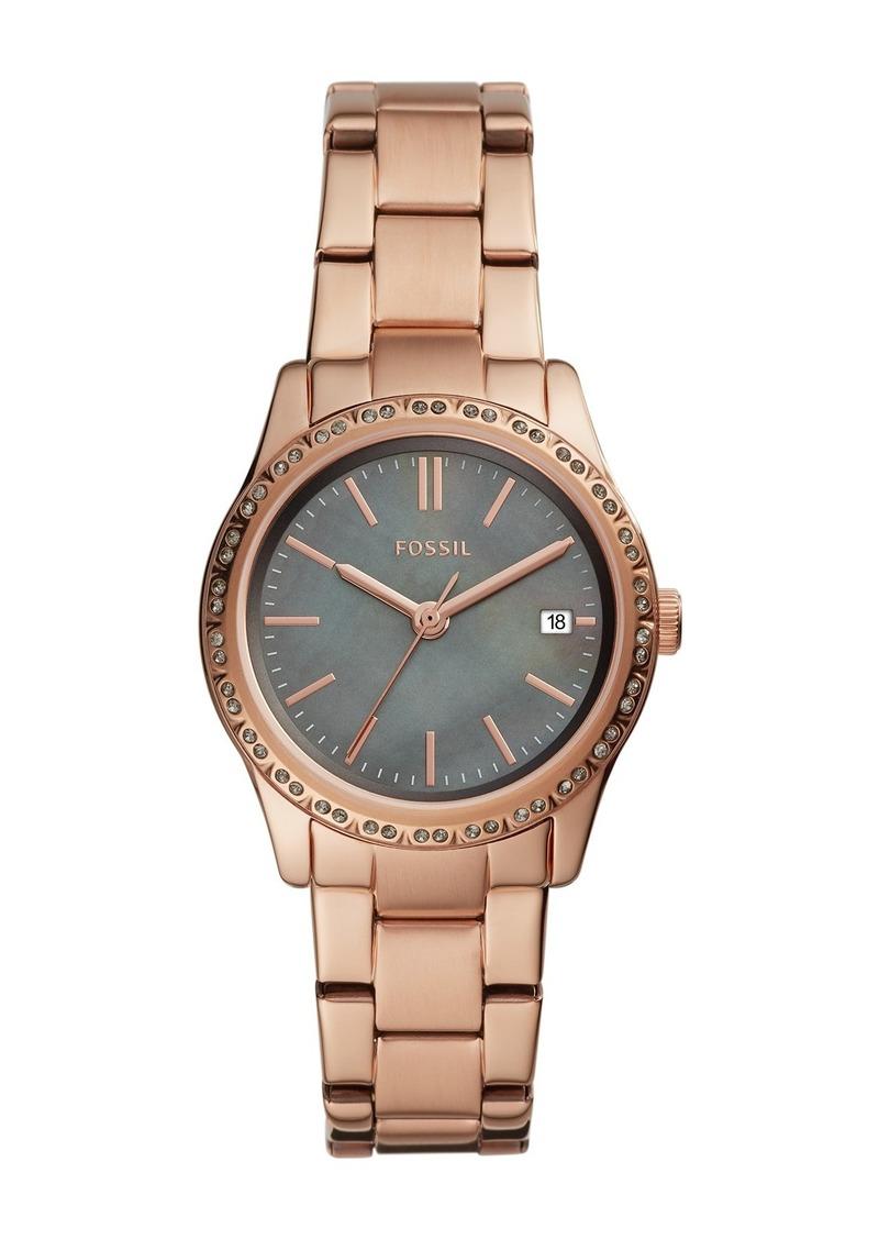 Fossil Women's Adalyn Crystal & Mother of Pearl Bracelet Watch, 34mm