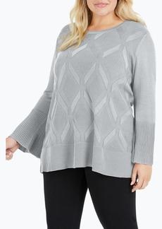 Foxcroft Dion Diamond Bell Sleeve Sweater (Plus Size)