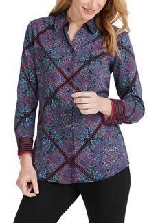 Foxcroft Addison Diamond Paisley Shirt (Regular & Petite)