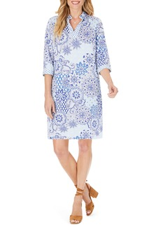 Foxcroft Angel Flowing Tiles Cotton Sateen Shirtdress