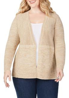 Foxcroft Arizona Ottoman Open Front Cotton Blend Cardigan (Plus Size)