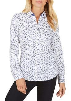 Foxcroft Ava Bye Bye Birdie Cotton Button-Up Shirt