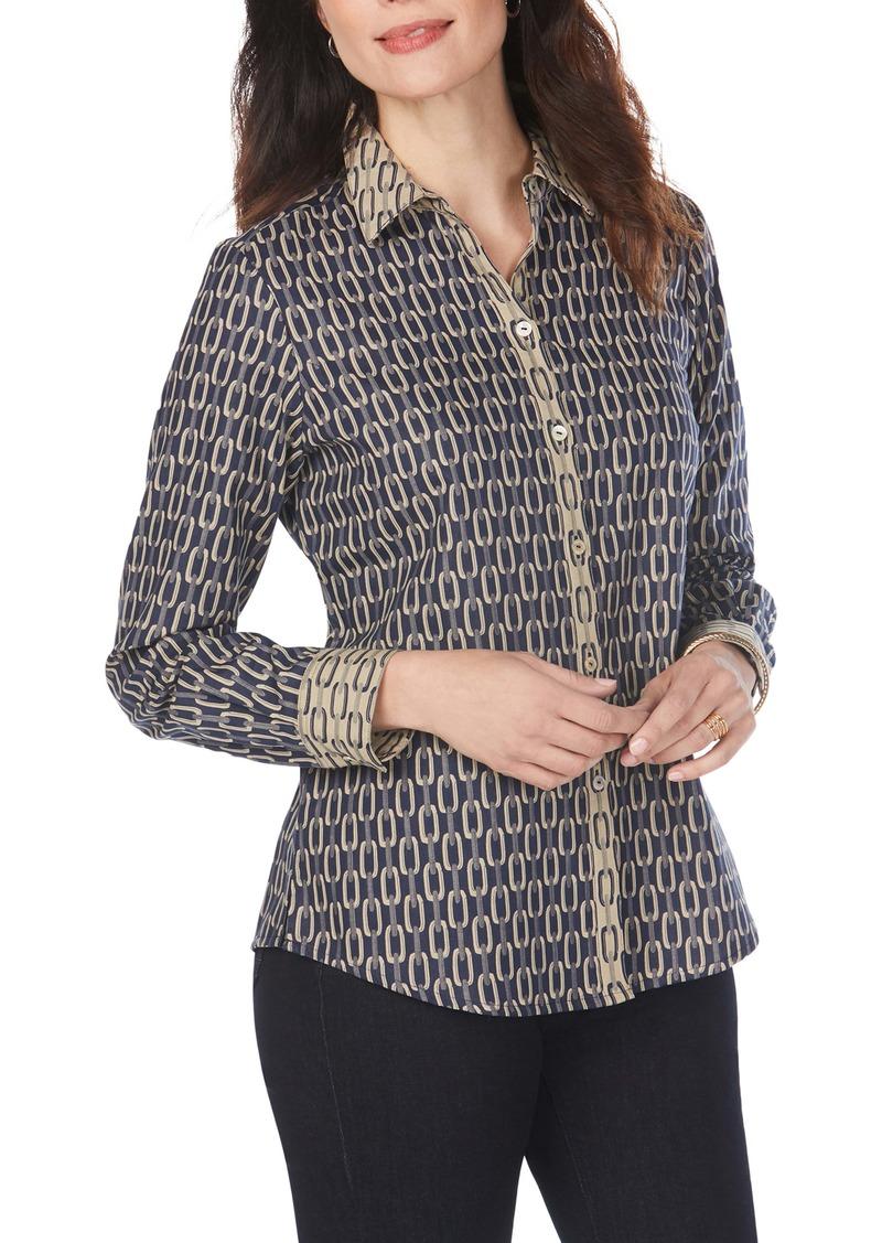 Foxcroft Ava Chain Jacquard Shirt