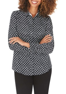 Foxcroft Ava Diamond Dots Wrinkle-Free Shirt